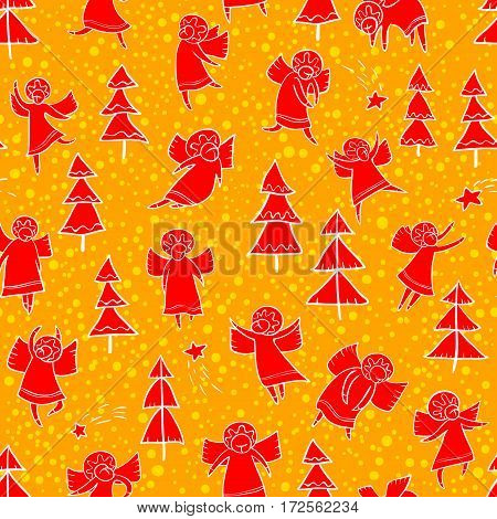 Seamless pattern with doodle dancing angels and pine trees and stars. Winter Christmas background with myphology religion characters. Line art design cartoon personages