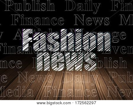 News concept: Glowing text Fashion News in grunge dark room with Wooden Floor, black background