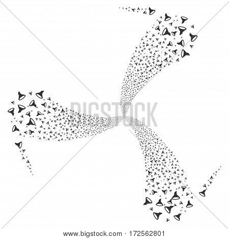 Filter fireworks swirl rotation. Vector illustration style is flat gray iconic symbols on a white background. Object spiral made from random symbols.