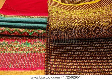 Craftsmanship thai striped sarong Colorful pattern beautiful