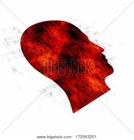 Education concept: Pixelated red Head icon on Digital background