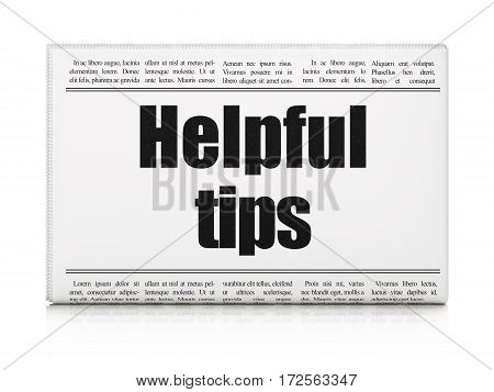 Education concept: newspaper headline Helpful Tips on White background, 3D rendering