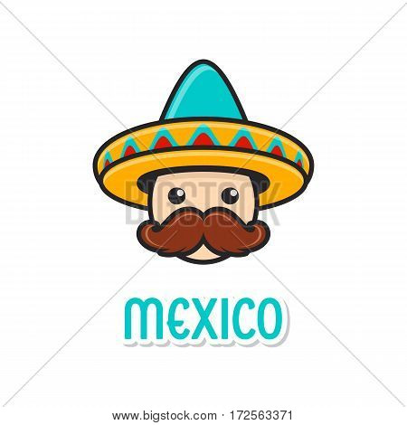 Funny man face with sombrero and large moustache