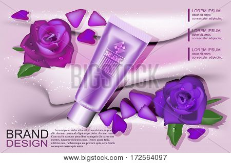 Pattern cosmetic advertising, cosmetic empty layout with purple, cream and rose cosmetic bottle, tube. Vector illustration.