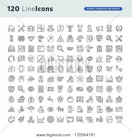 Set of premium concept icons for business, marketing and finance. Thin line vector icons for website design and development, app development, business and marketing presentation and print material.