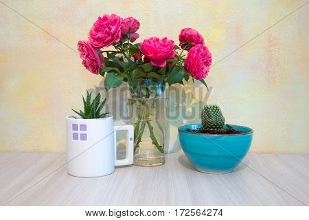 pink roses in a glass vase succulent in a white glass cactus in a blue ceramic bowl on a wooden table on a background of pale yellow walls