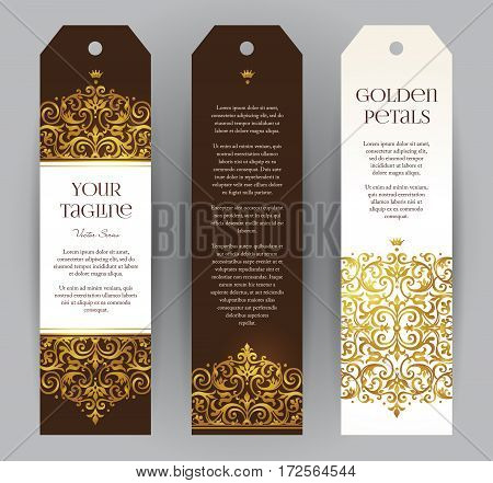 Vector Set Of Golden Labels In Victorian Style.