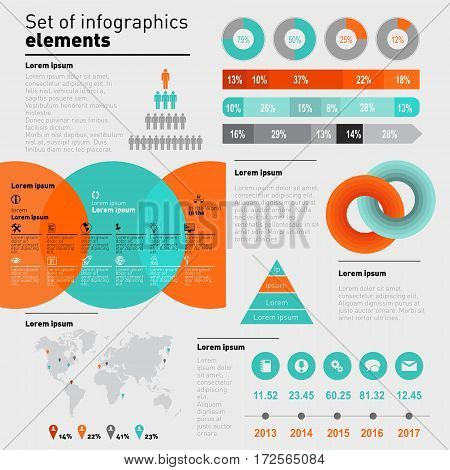 Vector set of infographics elements. Business And Financial Chart Infographic Design Template