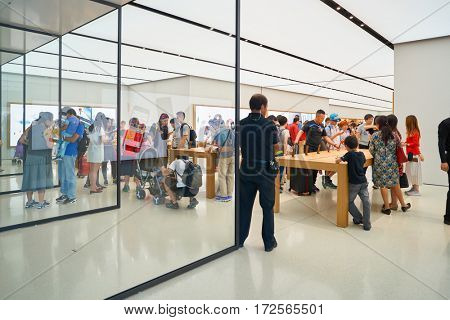 HONG KONG - CIRCA NOVEMBER, 2016: Apple store. Apple is an American multinational technology company.
