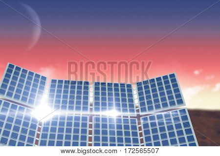 Illustration of solar panel against sunset