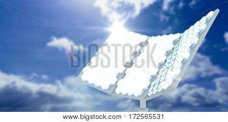 Vector image of hexagon shaped solar panel against blue sky