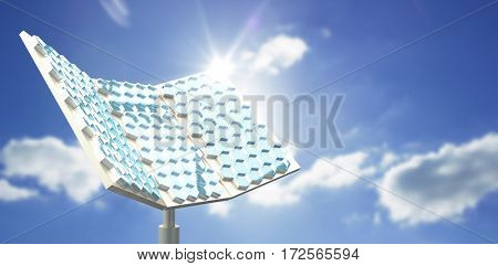 Hexagon shaped solar equipment against cloudy sky with sunshine