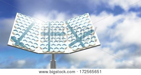 Modern solar panel with hexagon shape against blue sky with clouds