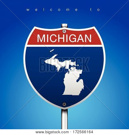 Sign of State American in Road Style  An Sign Road America Style with state of American with blue background and message, Michigan and map, vector art image illustration