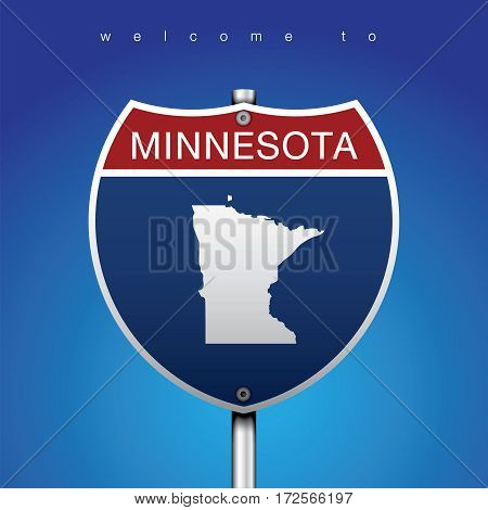 Sign of State American in Road Style  An Sign Road America Style with state of American with blue background and message, Minnesota and map, vector art image illustration