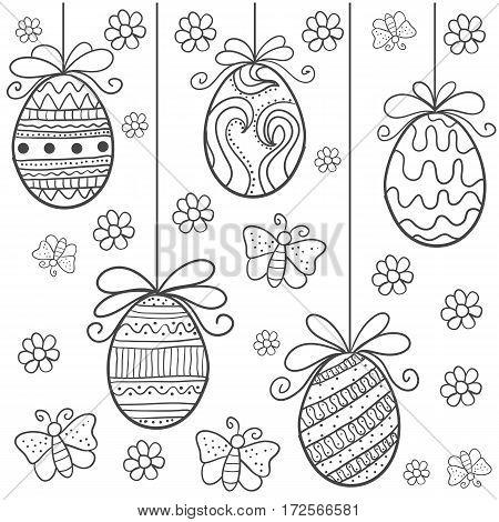 Happy easter egg hand draw doodles vector art