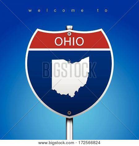Sign of State American in Road Style  An Sign Road America Style with state of American with blue background and message, Ohio and map, vector art image illustration