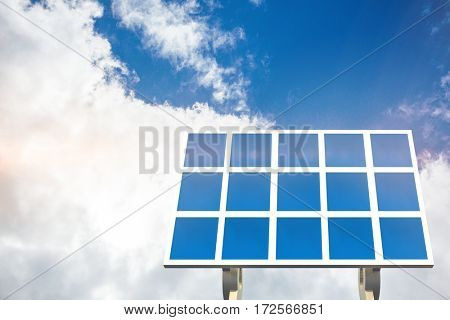 Blue solar panel against view of beautiful sky and clouds