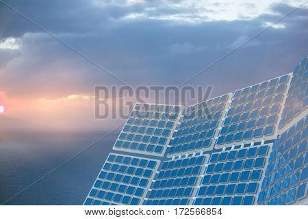 Modern solar equipment against white screen against scenic view of seascape against cloudy sky
