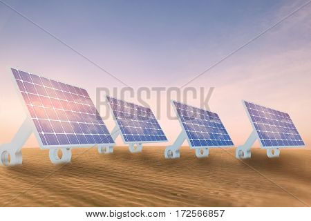Sources of renewable energy equipment against desert scene