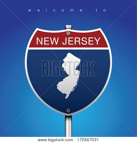 Sign of State American in Road Style  An Sign Road America Style with state of American with blue background and message, New Jersey and map, vector art image illustration