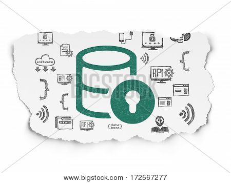 Programming concept: Painted green Database With Lock icon on Torn Paper background with  Hand Drawn Programming Icons