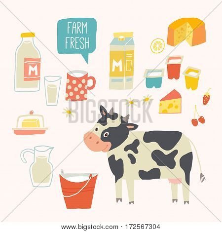 Fresh milk set. Dairy products - milk, yogurt, cheese, butter, milkshake. Vector illustration, isolated on white. Vector hand drawn eps 10 clip art illustration isolated on white background.
