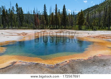 Geothermal pool in Yellowstone National Park, Wyoming.