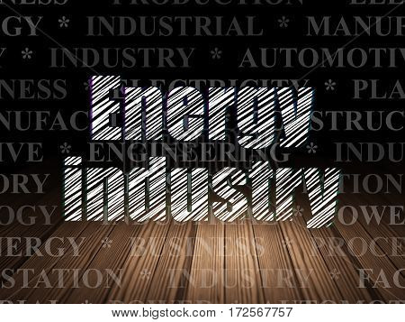 Industry concept: Glowing text Energy Industry in grunge dark room with Wooden Floor, black background with  Tag Cloud