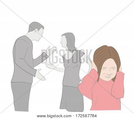 conflict in the family. Parents swear. child covers his ears. vector illustration.
