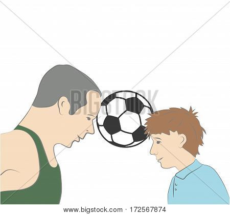 child with his father to play football. father's day. vector illustration.