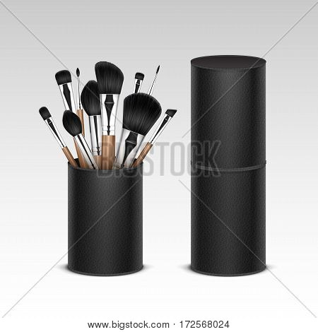 Vector Set of Black Clean Professional Makeup Concealer Powder Blush Eye Shadow Brow Brushes with Wooden Handles in Black Leather Tube Isolated on White Background. 3D