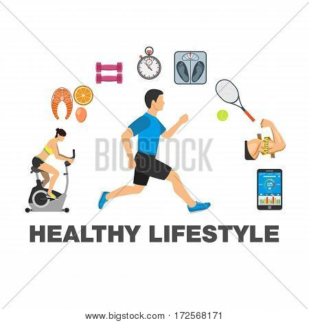 Fitness, Gym, Cardio, Healthy Lifestyle concept with flat icons Exercise Bike, runner, biceps and scales, isolated vector illustration