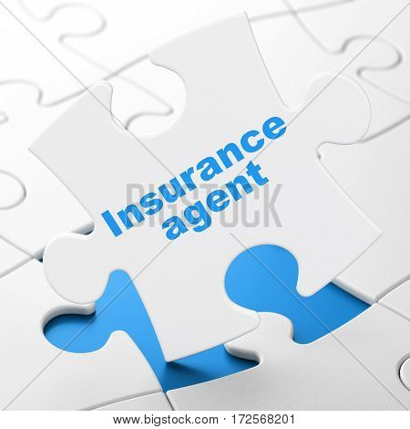 Insurance concept: Insurance Agent on White puzzle pieces background, 3D rendering