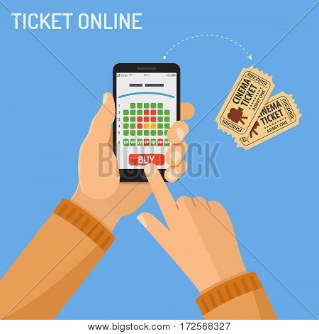 Concepts online cinema ticket order Man holding smartphone vertically in hand and touching buy app, isolated vector flat icon illustration