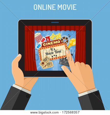 Concept online movie, man holding tablet pc horizontally in hand with cinema on screen, isolated vector flat icon illustration