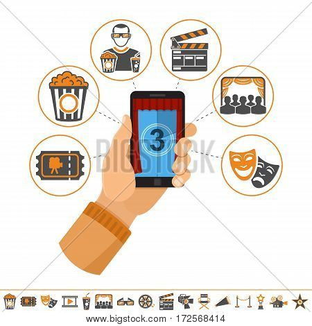 Concept online movie, man holding smartphone vertically in hand with curtain and countdown on screen, isolated vector flat and two color icon illustration