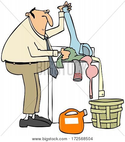 Illustration of a man putting dirty laundry in a clothes washer.