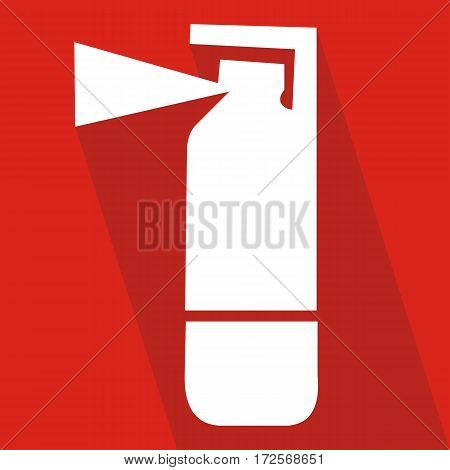 Fire extinguisher icon with long shadow. Flat design style. Extinguisher silhouette. Simple icon.