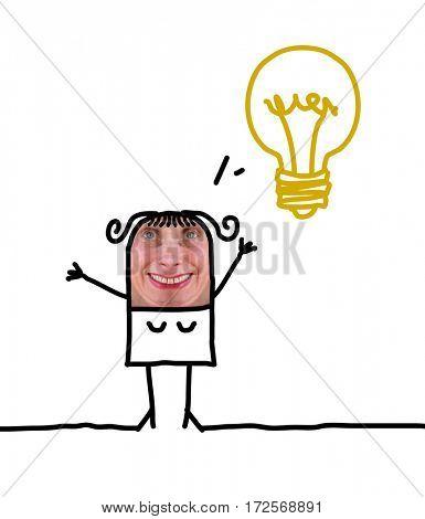 Cartoon people - woman and lightbulb
