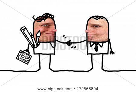 Cartoon people - artist and businessman handshake
