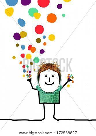 Cartoon people - Happy boy with confetti