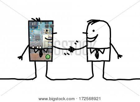 Cartoon people - businessman and robot handshake