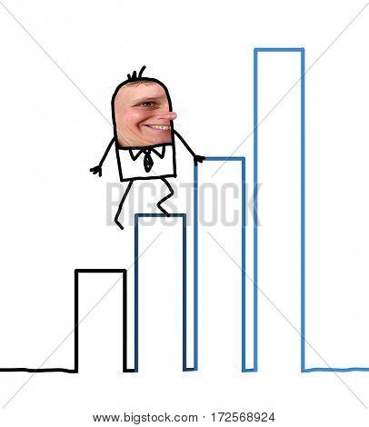 Cartoon people - businessman climbing up