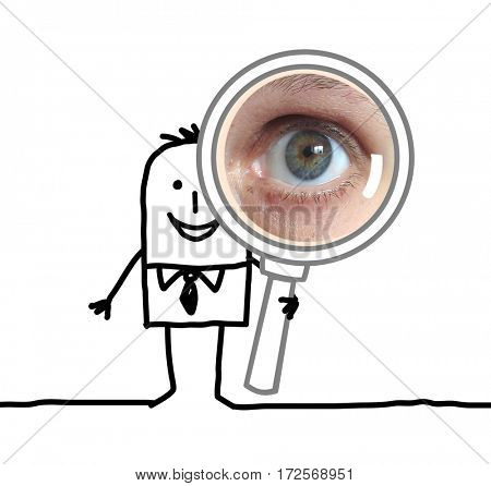 Cartoon people -businessman with magnified eye