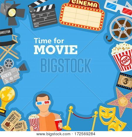 Cinema and Movie time frame with flat icons masks, 3D glasses, clapperboard, signboard and viewer with popcorn and soda in hands, isolated vector illustration