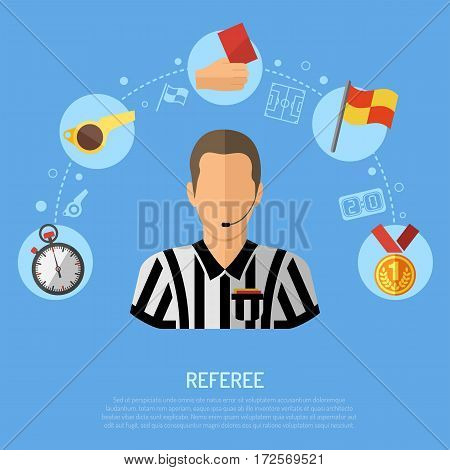 Soccer and Football concept with flat icons Referee, Ball, red card and award, isolated vector illustration