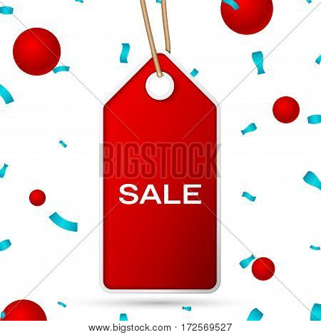 Red pennant with an inscription Sale over a white background and confetti. Sale concept for shops store market, web and other commerce. Vector illustration.