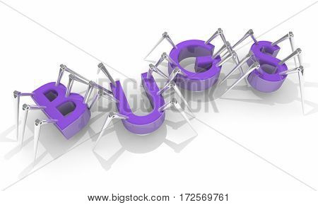 Bugs Spiders Insects Flaws Issues Word 3d Illustration