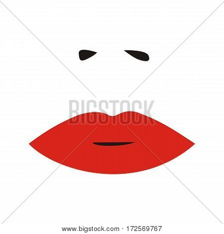 Woman nose and red lips. Sexy woman face. Vector. illustration